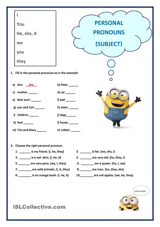 Personal Pronouns Subject Personal Pronouns Worksheets Personal Pronouns Pronoun Worksheets [ 1440 x 1018 Pixel ]