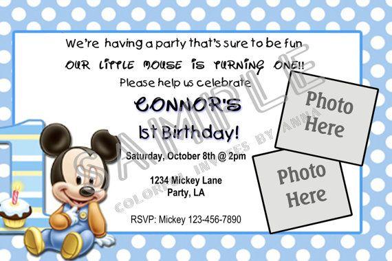 Baby Mickey 1st Birthday Invitation 2