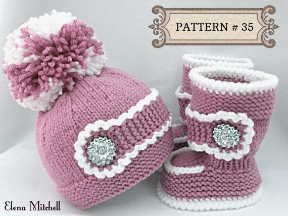 Knitting PATTERN Baby Set Baby Shoes Baby Uggs Pattern Knitted Baby ...