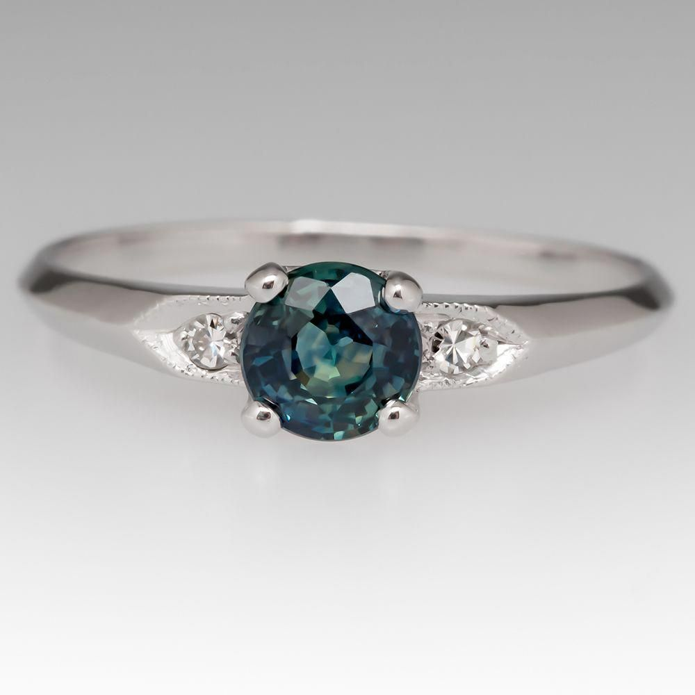 be0171802fb2f1 Vintage Blue Green Montana Sapphire Engagement Ring Platinum  #vintageengagementringsturquoise