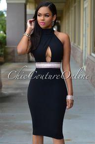 Yasmin Black Jeweled Waist Halter Dress
