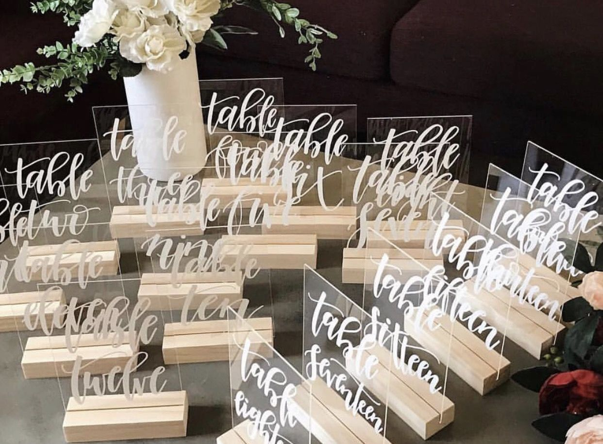 Acrylic Perspex table numbers. Wedding and event Signage