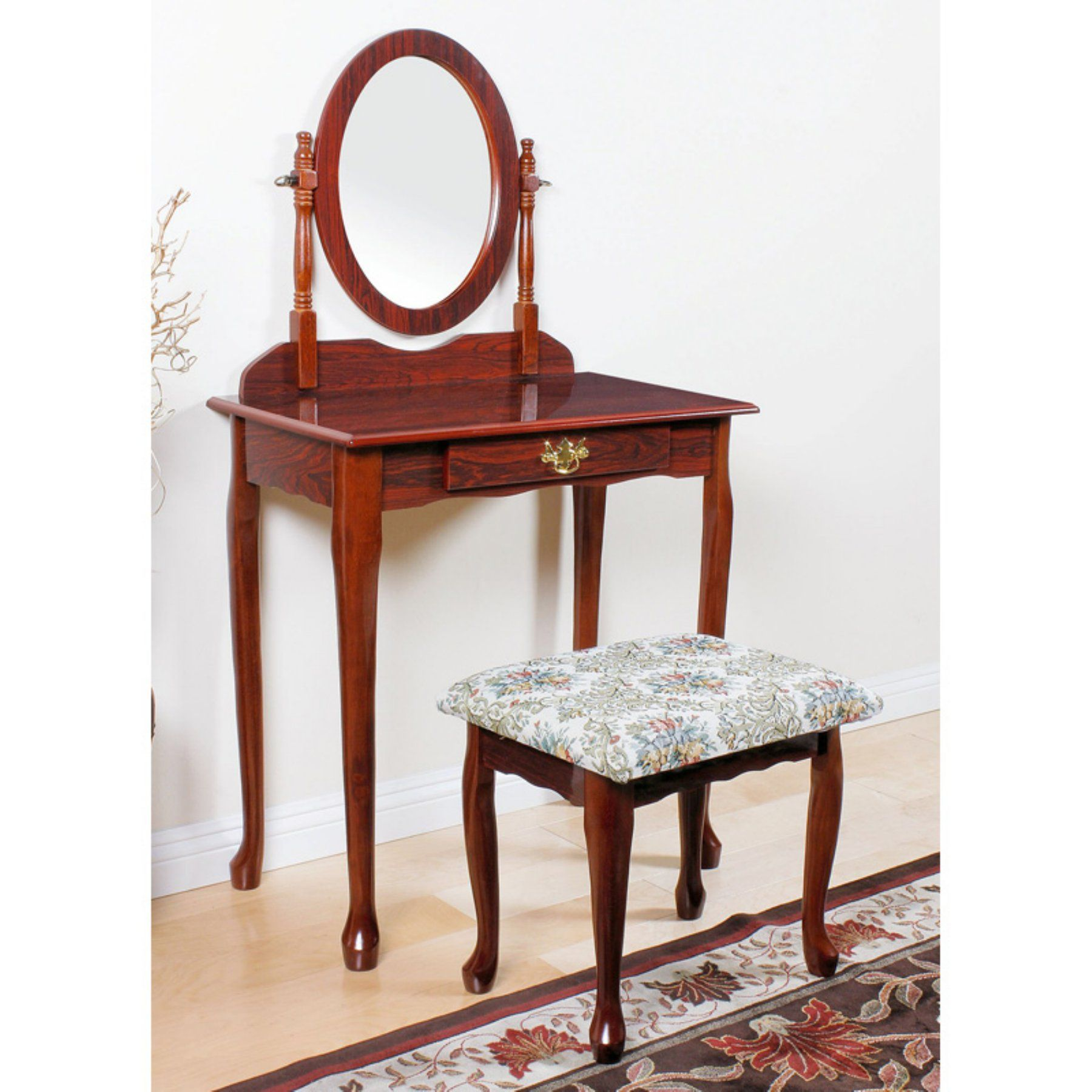 Acme Furniture Queen Anne Vanity Set 02337CHERRY Acme