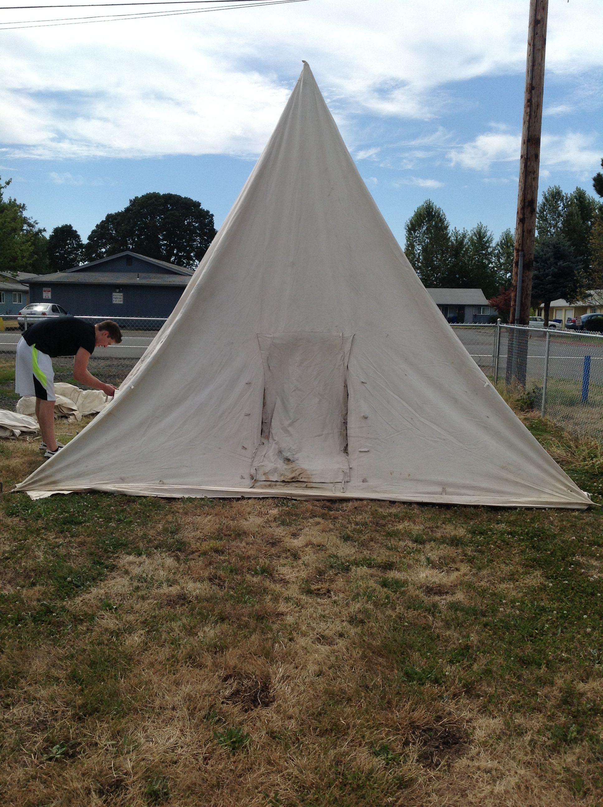 Pyramid tent pre1900 canvas uses one pole on two parts to hold tent up. Can be set up by one woman if necessary. & Pyramid tent pre1900 canvas uses one pole on two parts to hold ...