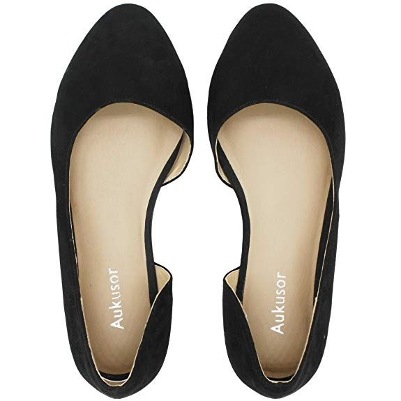 14a5afeea2 Aukusor Women s Wide Width Ballet Flat - Comfortable Slip On Closed Toe  Casual Shoes.(Black 180401