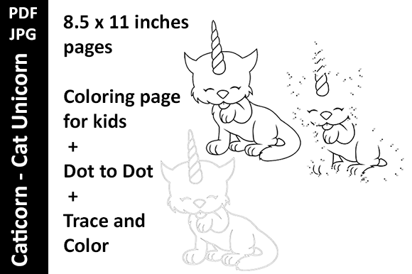 Caticorn Cat Unicorn 3 Activity Pages Graphic By Oxyp Creative Fabrica Unicorn Cat Caticorn Coloring Pages