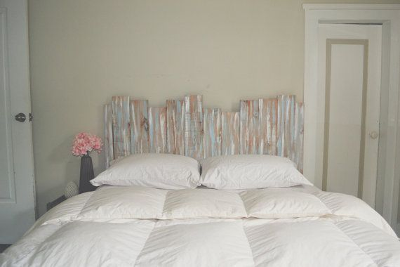 Staggered Wood Shabby Chic Headboard Wall Art Gray Blue White Gender Neutral