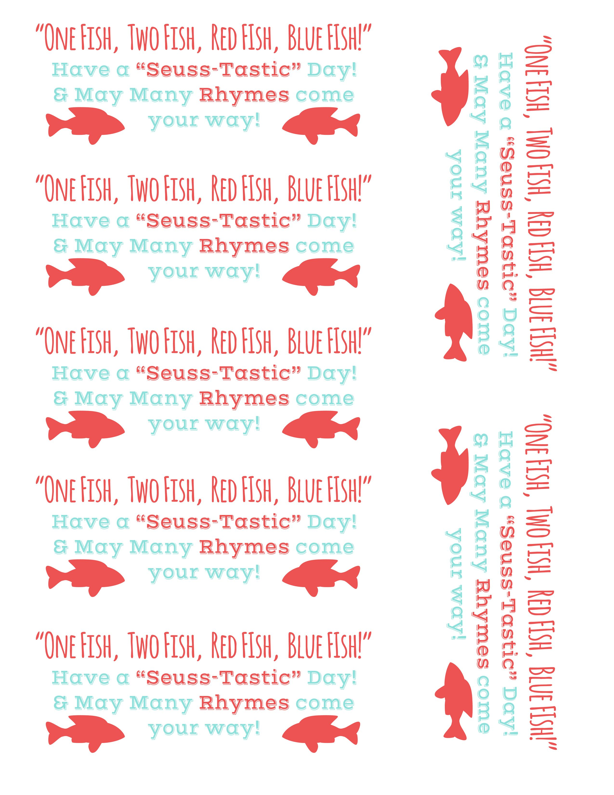 One Fish Two Fish Dr Seuss Tags Free Printable