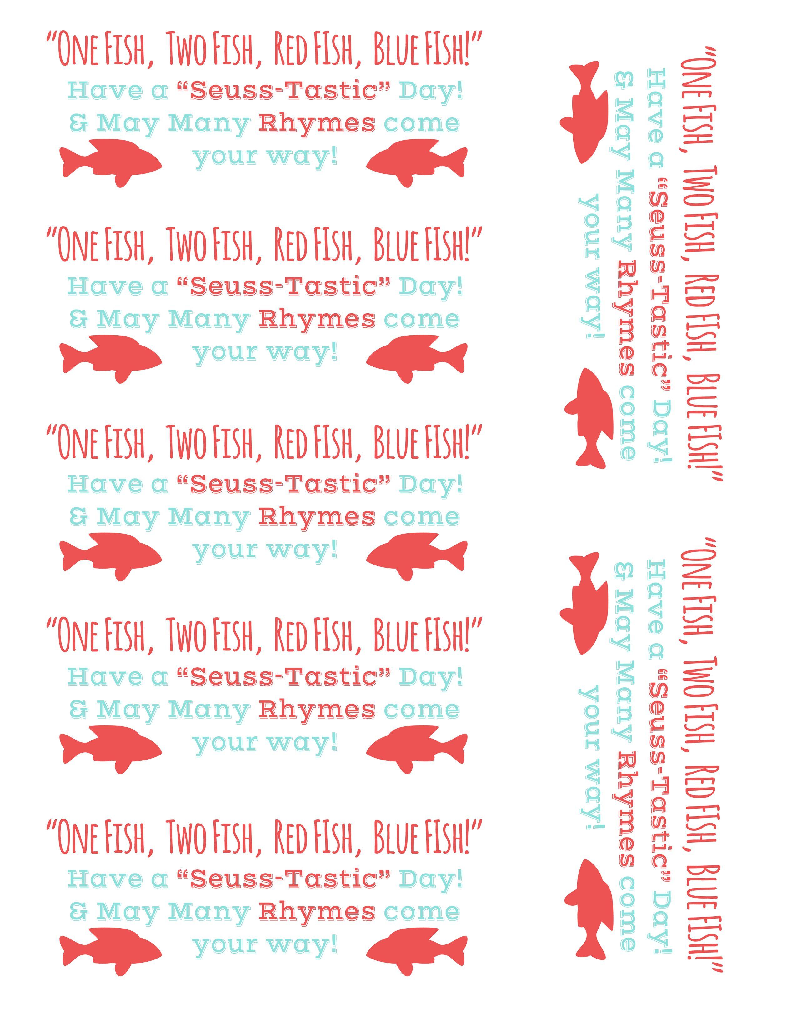 One Fish Two Fish Dr Seuss Tags Free Printable Preschool Ideas