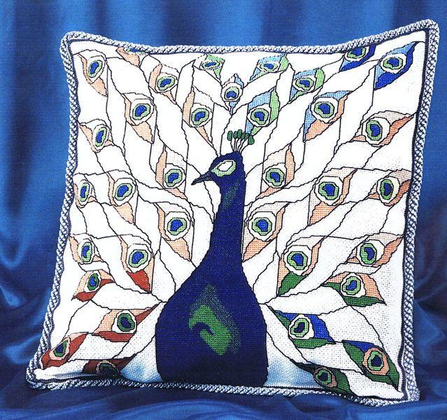 Peacock Cross-Stitch Cushion