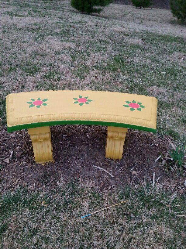Sensational My Concrete Bench I Painted Craft Ideas Concrete Bench Evergreenethics Interior Chair Design Evergreenethicsorg