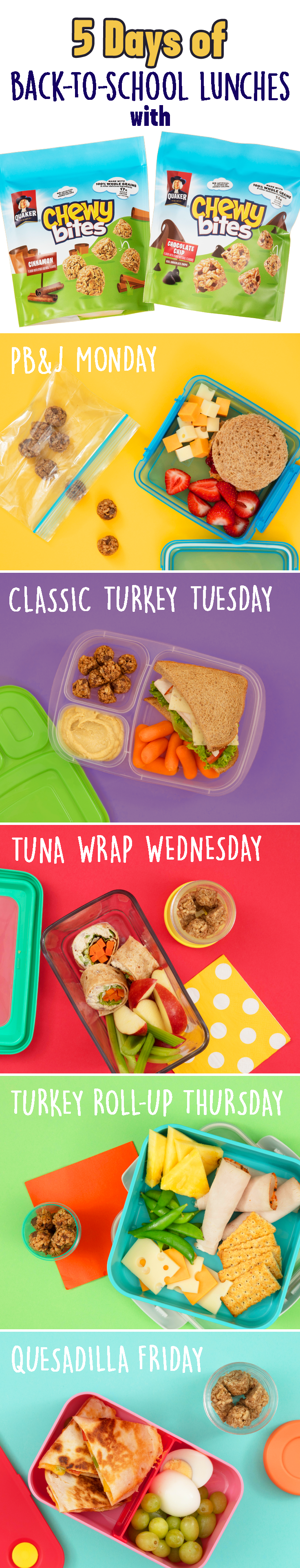 Your little one will never trade lunch snacks again! Pack a unique, balanced lunch every day of the week with the help of NEW Quaker® Chewy® Bites, made with 100% whole grains, real chocolate chips, and other delicious ingredients. Just pair a classic sandwich, PB&J, wrap, or even a quesadilla with their favorite, bite-sized Quaker® snack, some fresh fruit, and veggies. Throw in some words of encouragement for extra smiles!