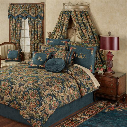 Photo of Casanova Jacobean Floral Dark Teal Comforter Bedding