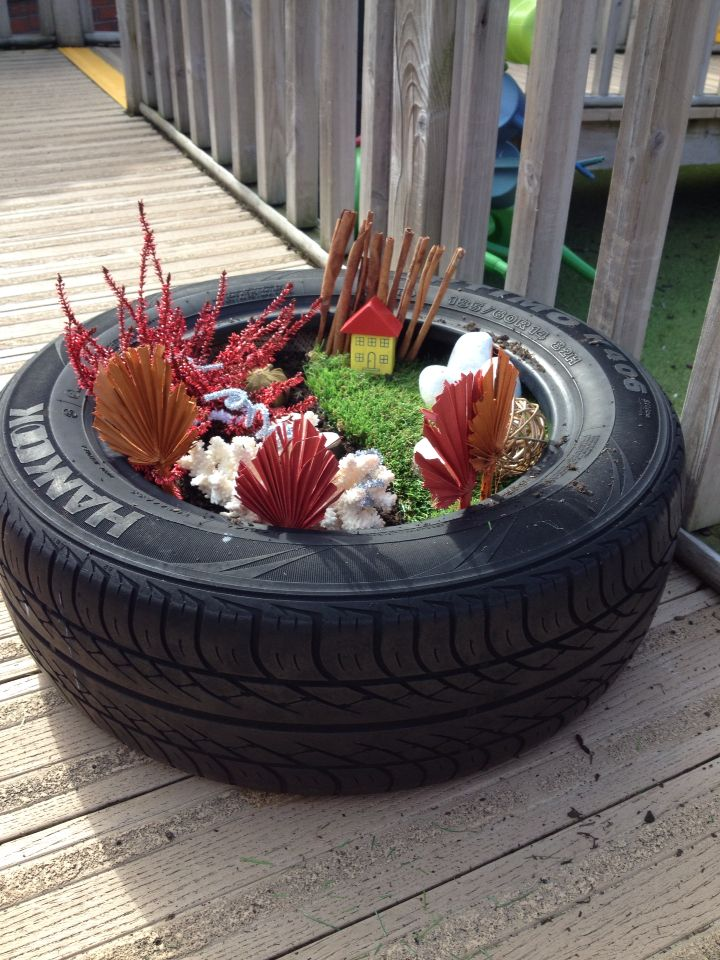 Fairy small world in a tyre teaching school gardens for Tray garden designs