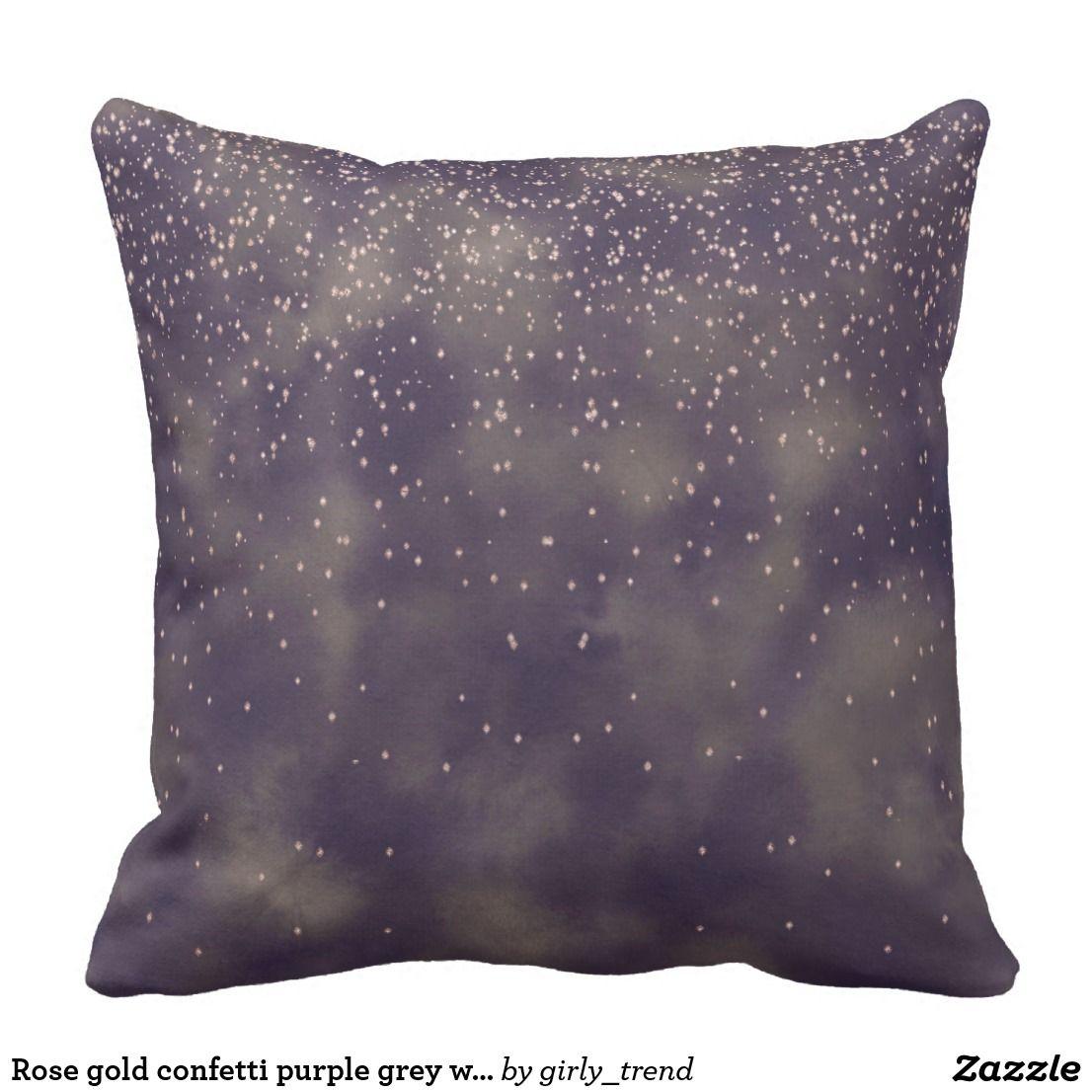 Rose gold confetti purple grey watercolor batik outdoor pillow ...