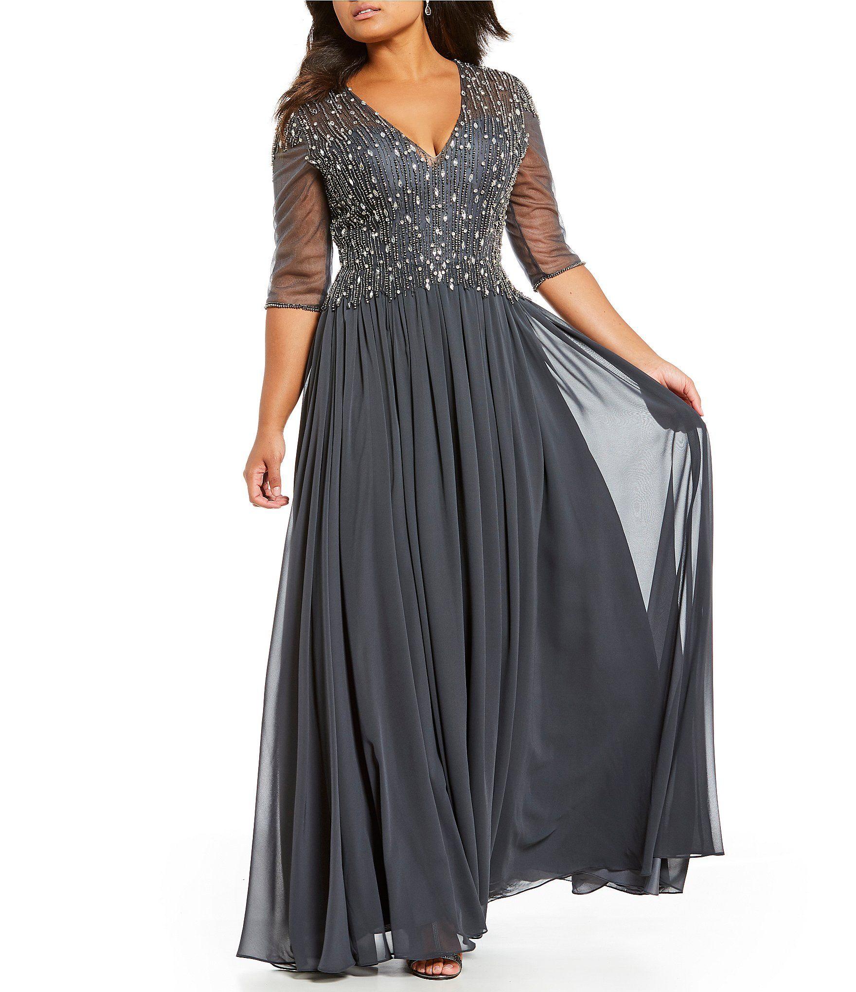 c4a44143d607f Terani Couture Plus VNeck Beaded Gown  Dillards