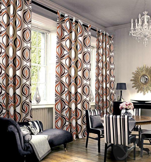 gardinen dekorationsvorschläge vorhänge geometrische muster