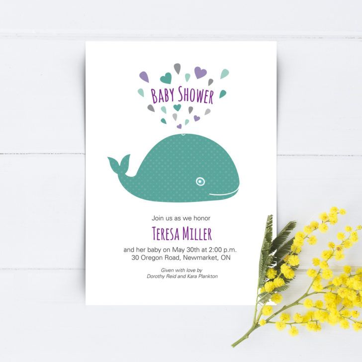 Mock Whale Baby Shower Invitation Template Design Purple Text Baby - baby shower invite samples