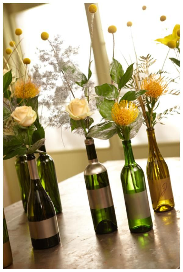 DIY wine-bottle centerpieces Wrap rustic twine around wide part of - fresh invitation card reuse