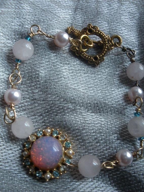 Vintage Pink Glass Opal and Rose Quartz by AtticAntiquesVintage, $25.00