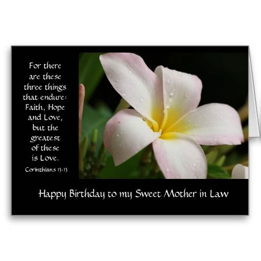 Floral Mother In Law Birthday Card Pretty Plumeria Bloom Bible Verse About Love From Corinthians 1313 For There Are These Three Things That Endure Faith