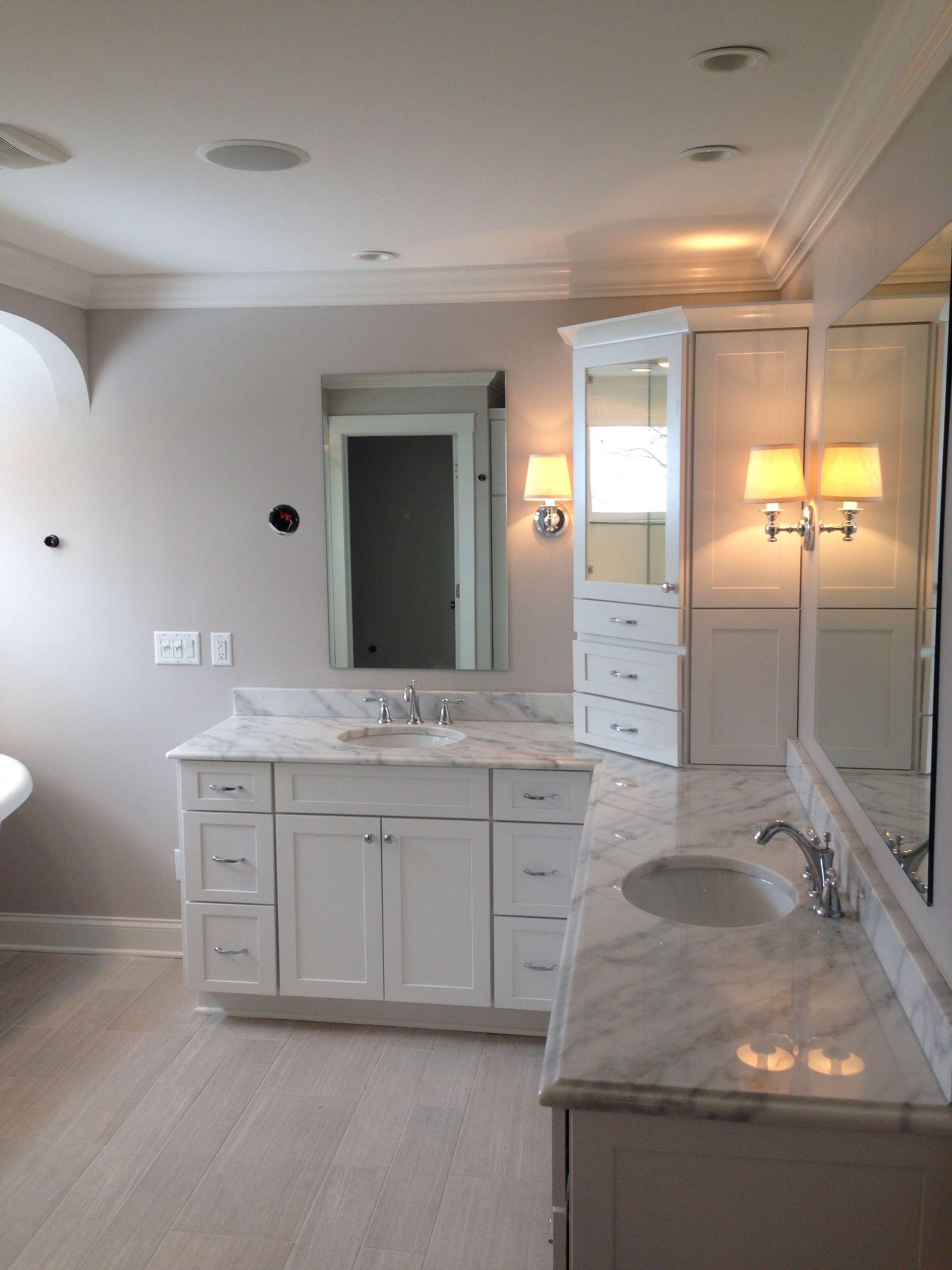Marble Bath Ideas For Master Bath Light Tile Floor With Gray Walls