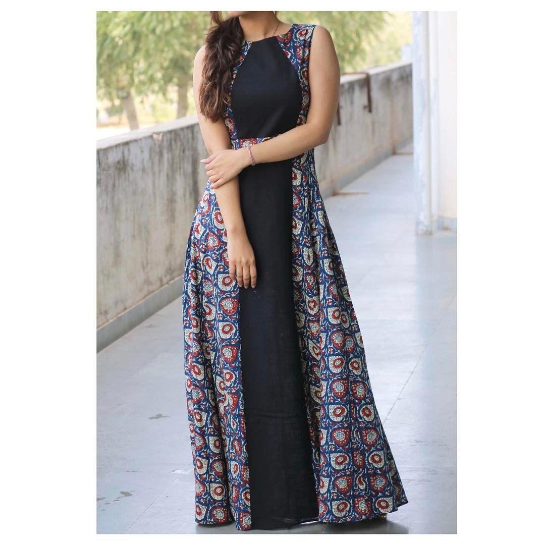 Dress Design Using Plain And Printed Fabric Materials Dresses Designer Dresses Long Dress