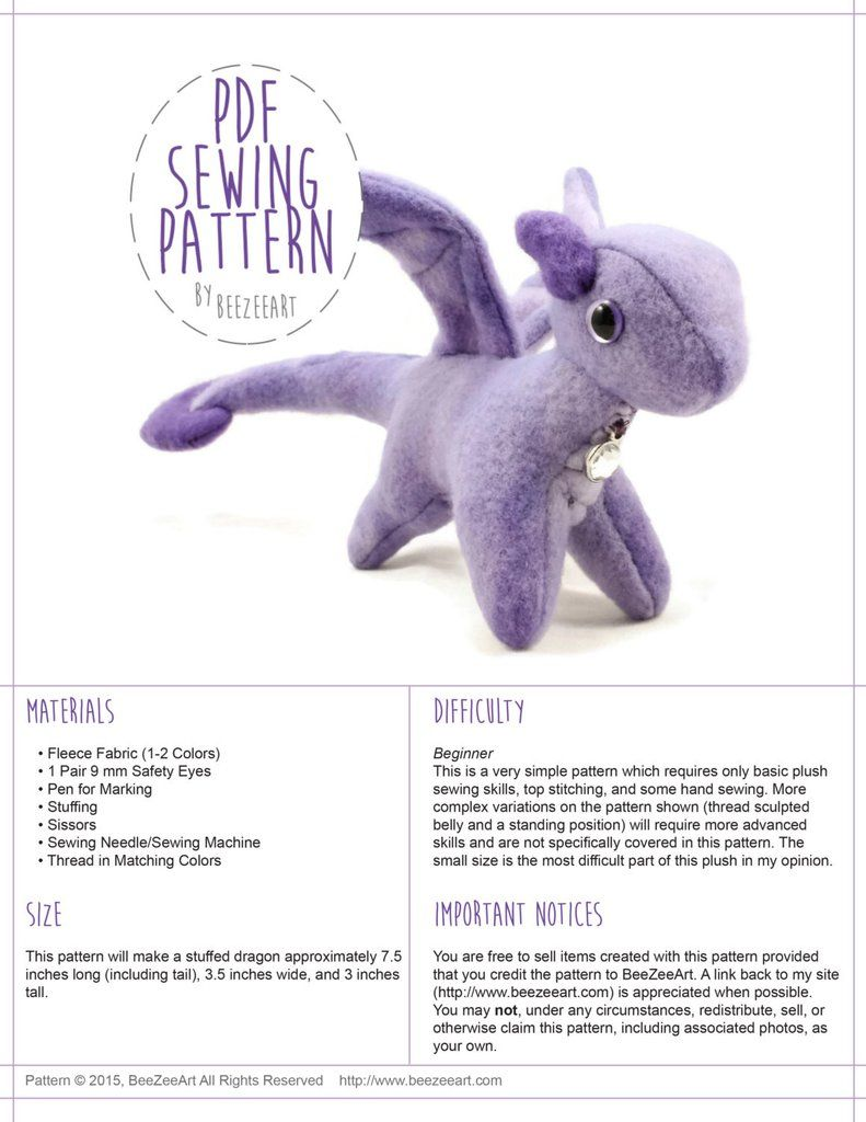 Tiny dragon stuffed animal sewing pattern digital download