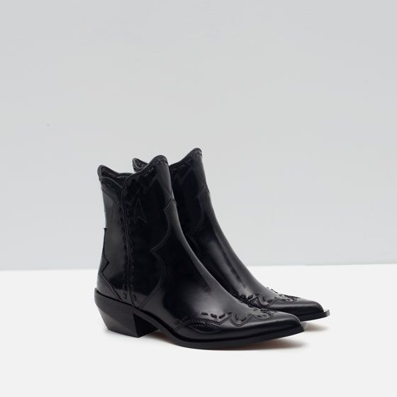 3fb48b1680a0 FLAT LEATHER COWBOY ANKLE BOOTS from Zara - and I got them! Yey ...
