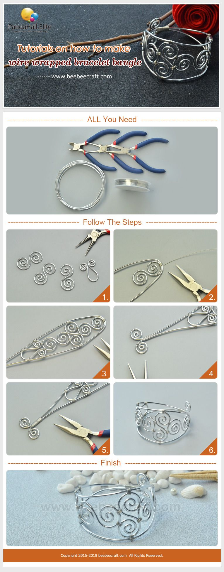 Beebeecraft #Tutorials on how to make #wirewrapped #bracelet #bangle ...