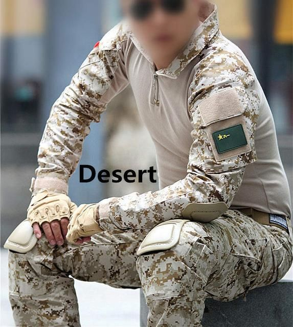 Precise Camouflage Tactical Military Uniform Shirt Set Men Multicam Military Hunt Clothes Army Combat Shirt Men's Clothing Tops & Tees Cargo Knee Pads