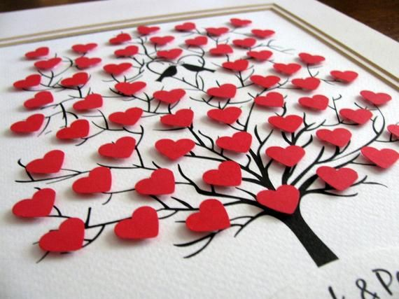 3D Mini Herzen / Hochzeitstag / Ihr 8×10 Baum | Etsy