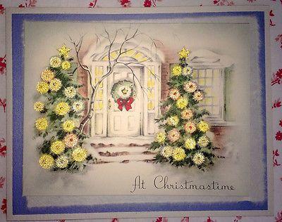 ~ Vtg. 1940s UNUSED Christmas Card Yellow Beaded Watercolored Christmas Trees ~