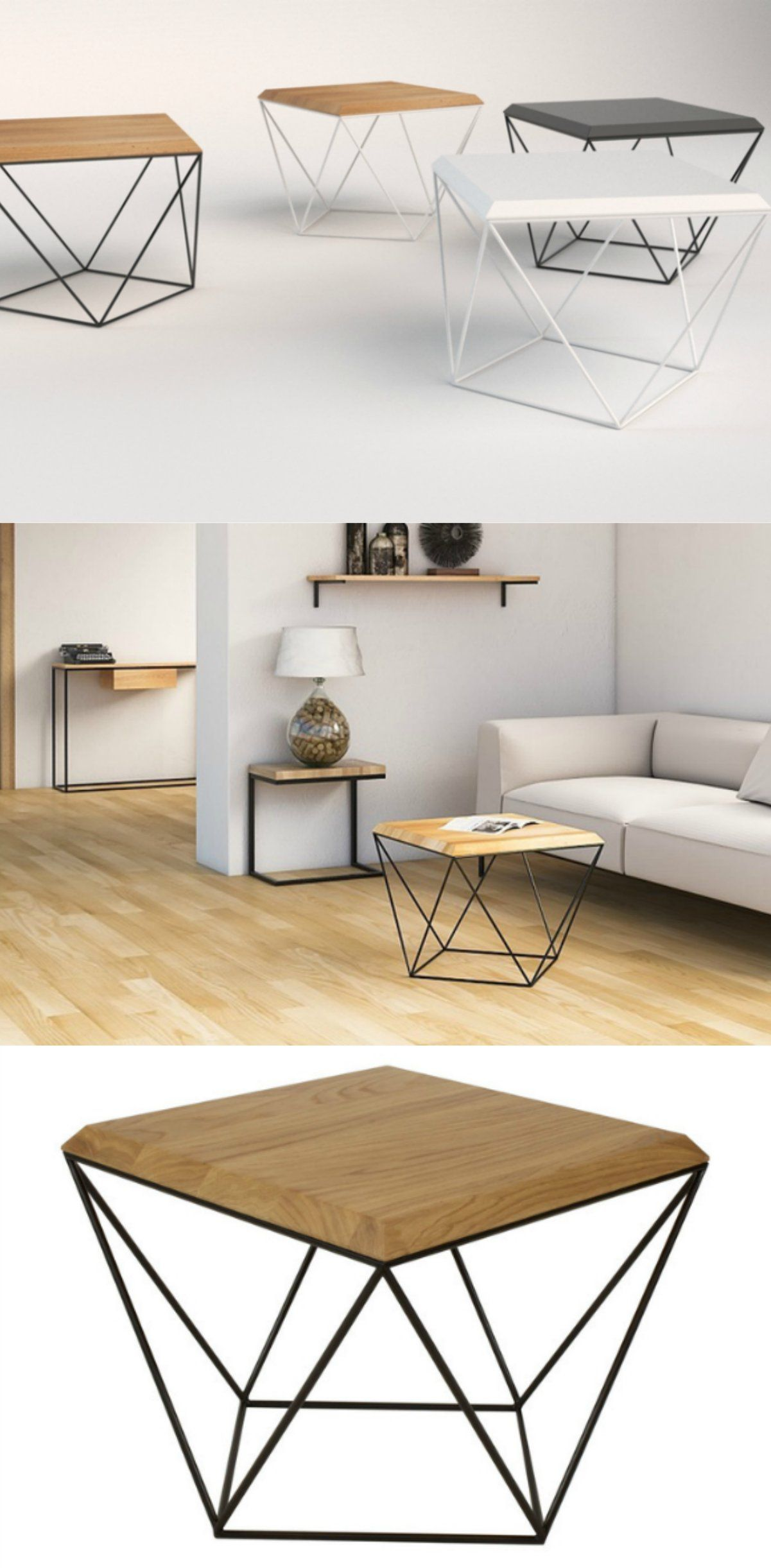 Tulip wood is a minimalist coffee table with an intriguing geometric silhouette just turn it 90 degrees and watch it get a totally different shape