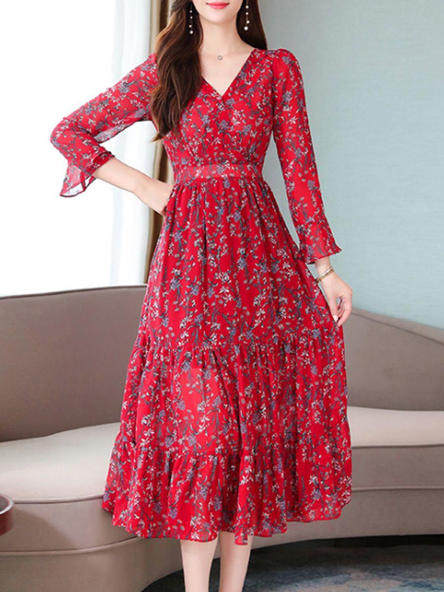 V-Neck Floral Printed Bell Sleeve Maxi Dress #Printed, #SPONSORED