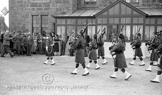 Band of the 4th/5th Cameron Highlanders outside Lochboisdale Hotel, South Uist 1957