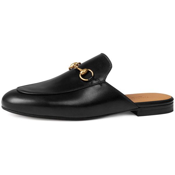 3c5510e86 Gucci Princetown Leather Horsebit Mule Slipper Flat (22,435 THB) ❤ liked on  Polyvore featuring shoes, flats, gucci, nero, leather flats, leather shoes,  ...