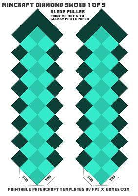 Plantilla De La Espada De Diamantes Minecraft Uno De Los Cinco
