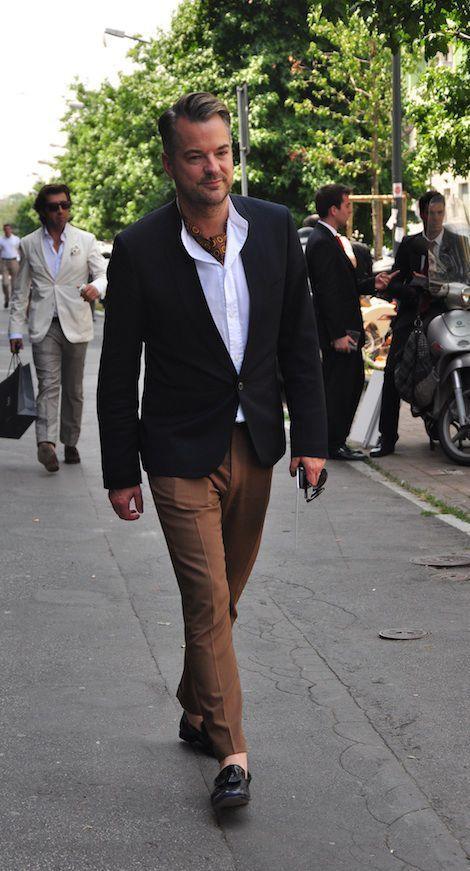 Men's Black Blazer, White Long Sleeve Shirt, Brown Dress Pants ...