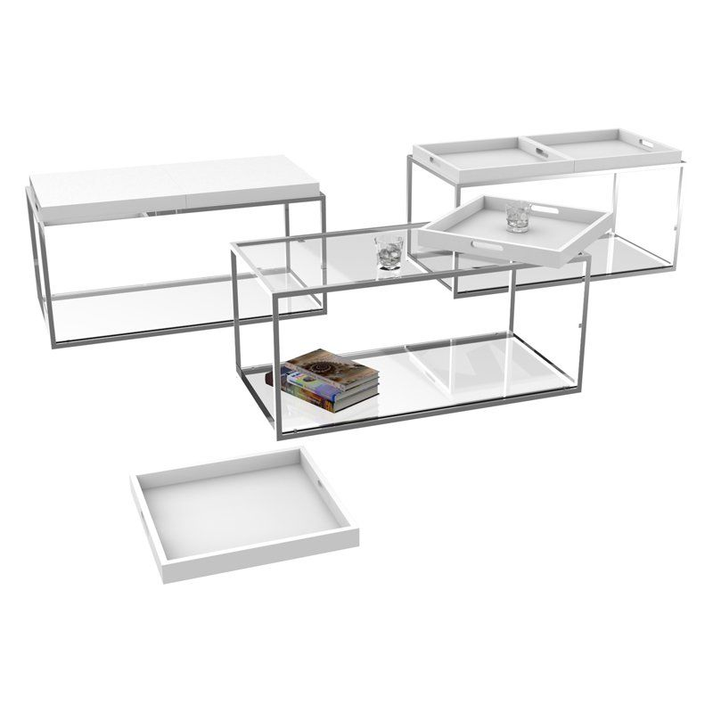 Convenience Concepts Palm Beach Rectangle White Metal And Glass Coffee Table  With Removable Trays   Coffee