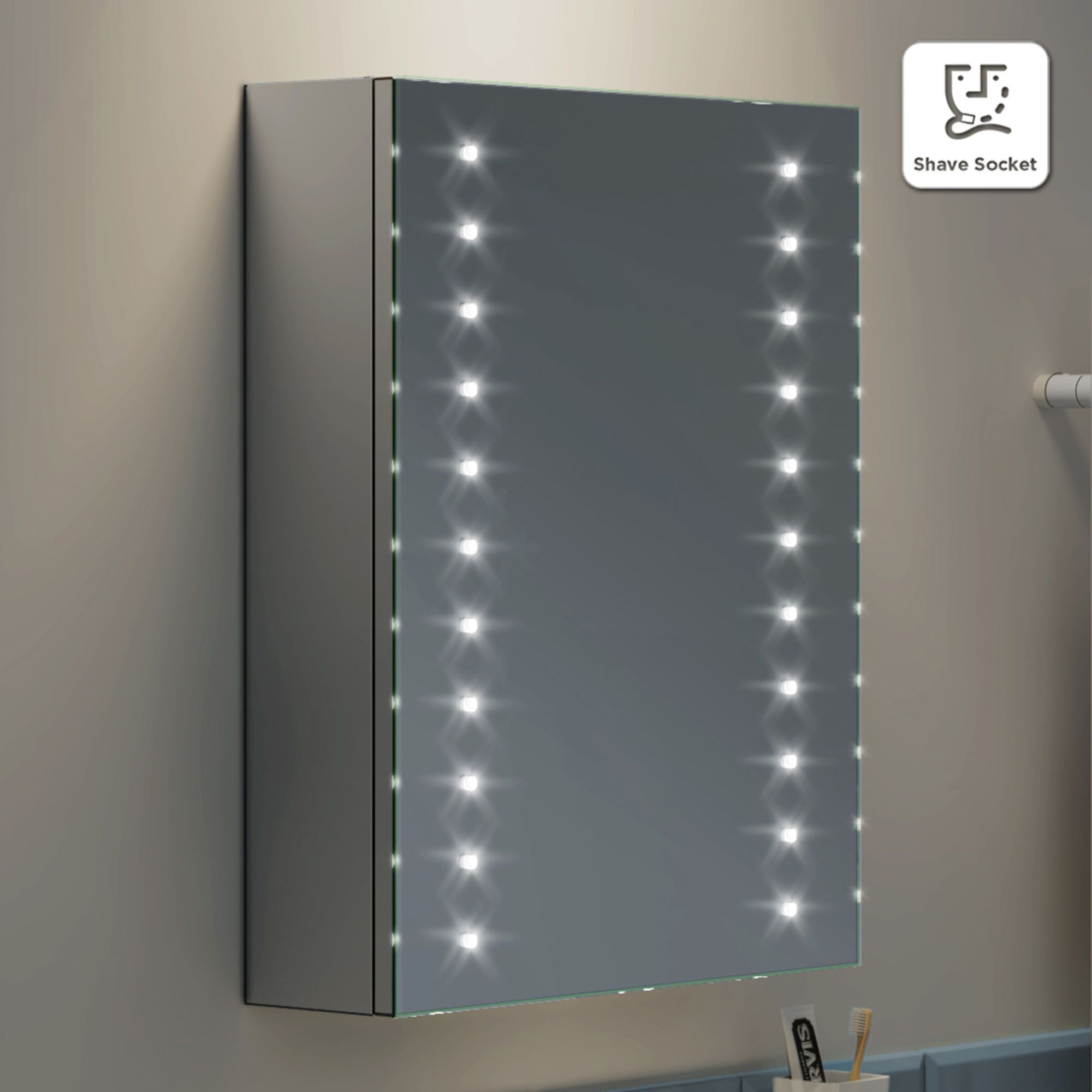 450x600mm Illuminated Led Mirror Cabinet With Shaver Socket Soak Com Mirror Cabinets Led Mirror Bathroom Led Mirror