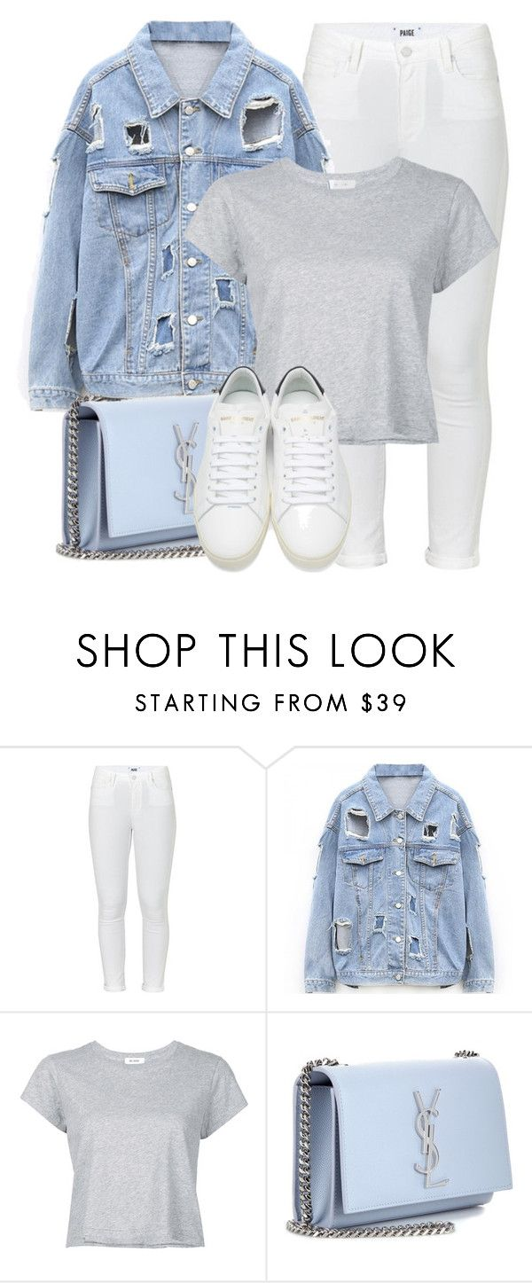 """""""Everyday Look"""" by monmondefou ❤ liked on Polyvore featuring Paige Denim, RE/DONE, Yves Saint Laurent, white and Blue"""