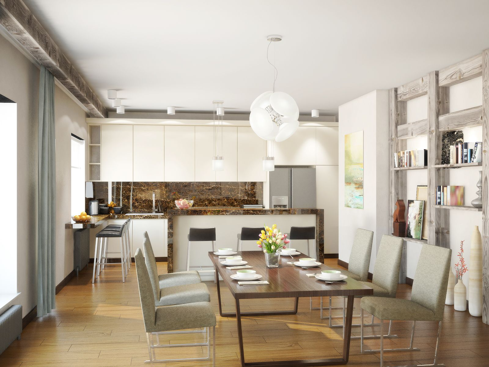 Modern kitchen design with light colors, dining set and two bar ...