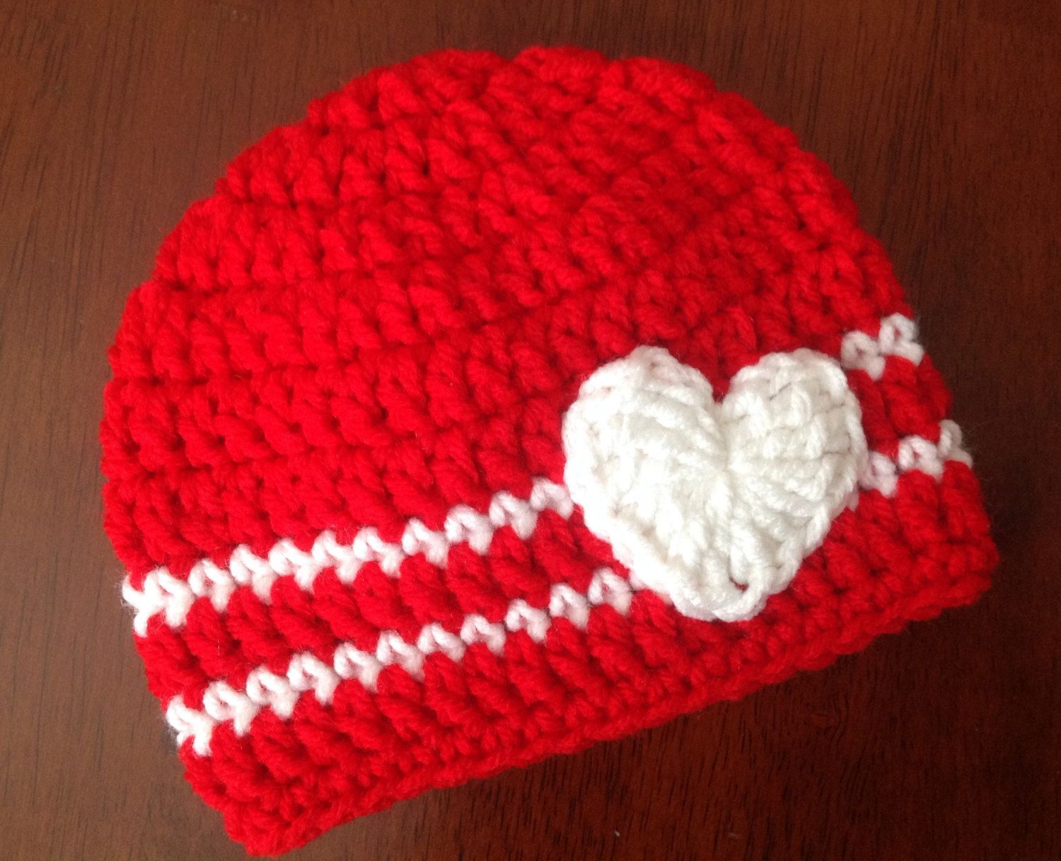 Valentineu0027s Day Crochet Hat Heart Beanie Girl Or Boy Valentine Hat Red And  White Hat Baby
