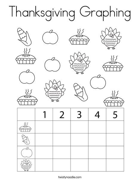 Thanksgiving Graphing Coloring Page - Twisty Noodle ...