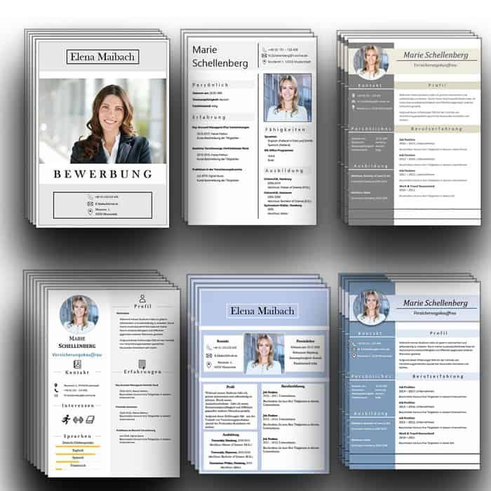 6 Design CV Lebenslaufvorlagen Download. 6x Word + 3x Pages. Die ...