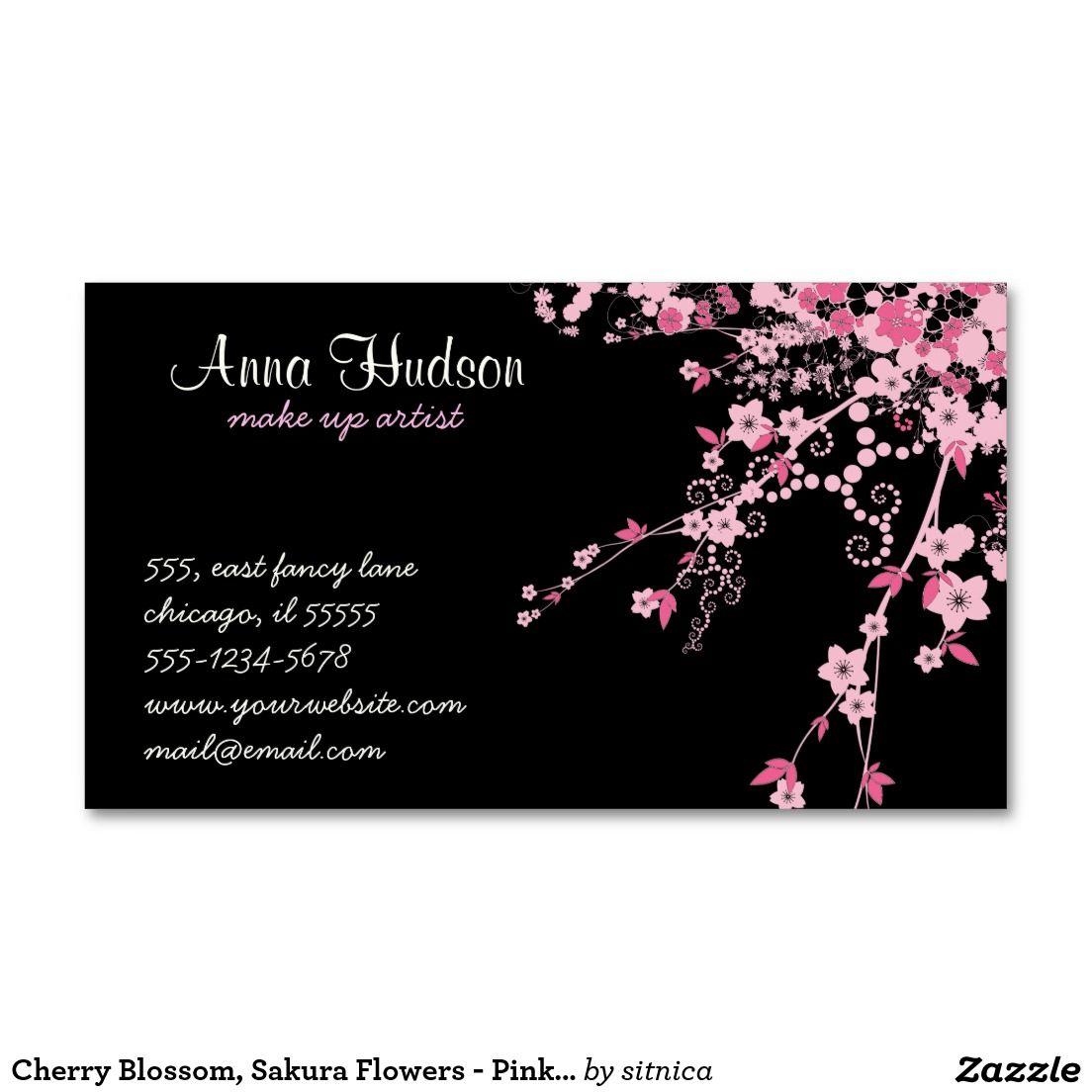 Cherry Blossom, Sakura Flowers - Pink Black Business Card | Black ...