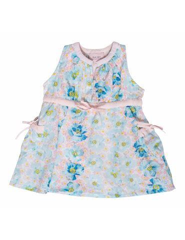 Kjole med unikt blomsterprint - mintgrøn