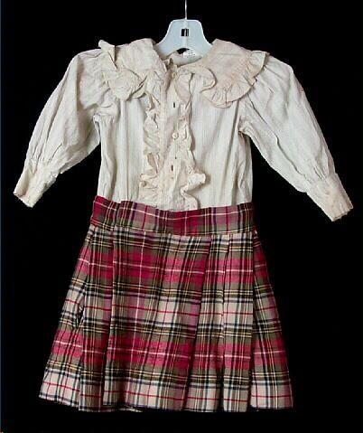 Shirt, boy's, off-white printed cotton, attached plaid wool kilt, 1894-1895