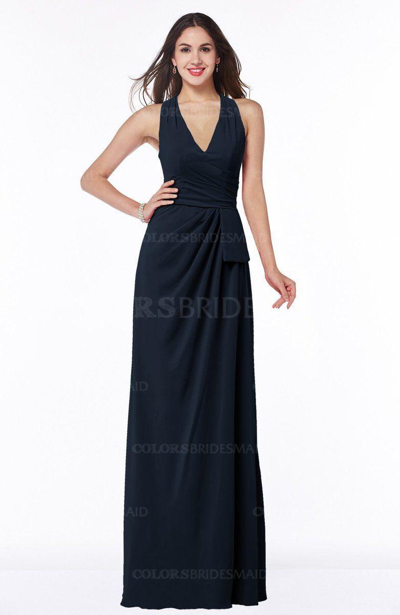 Navy blue elegant aline halter sleeveless zipper chiffon plus size